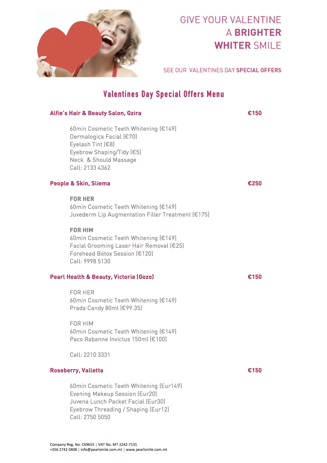 Valentines Day Special Offers Menu